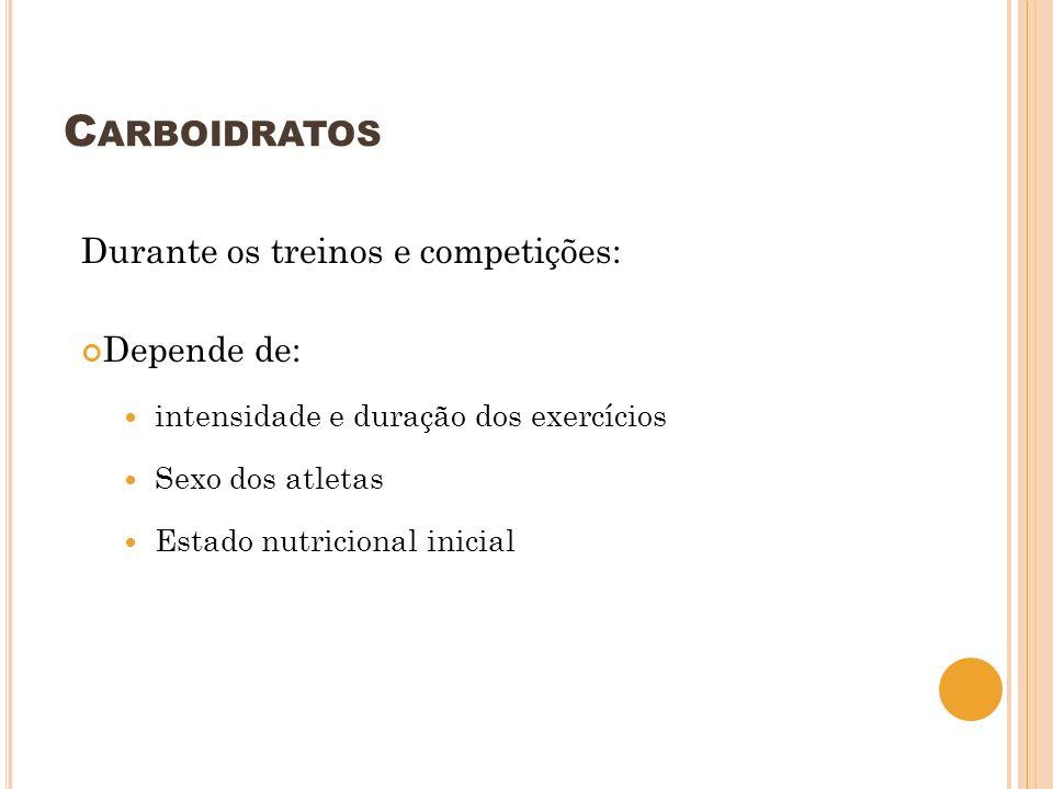 Carboidratos Durante os treinos e competições: Depende de: