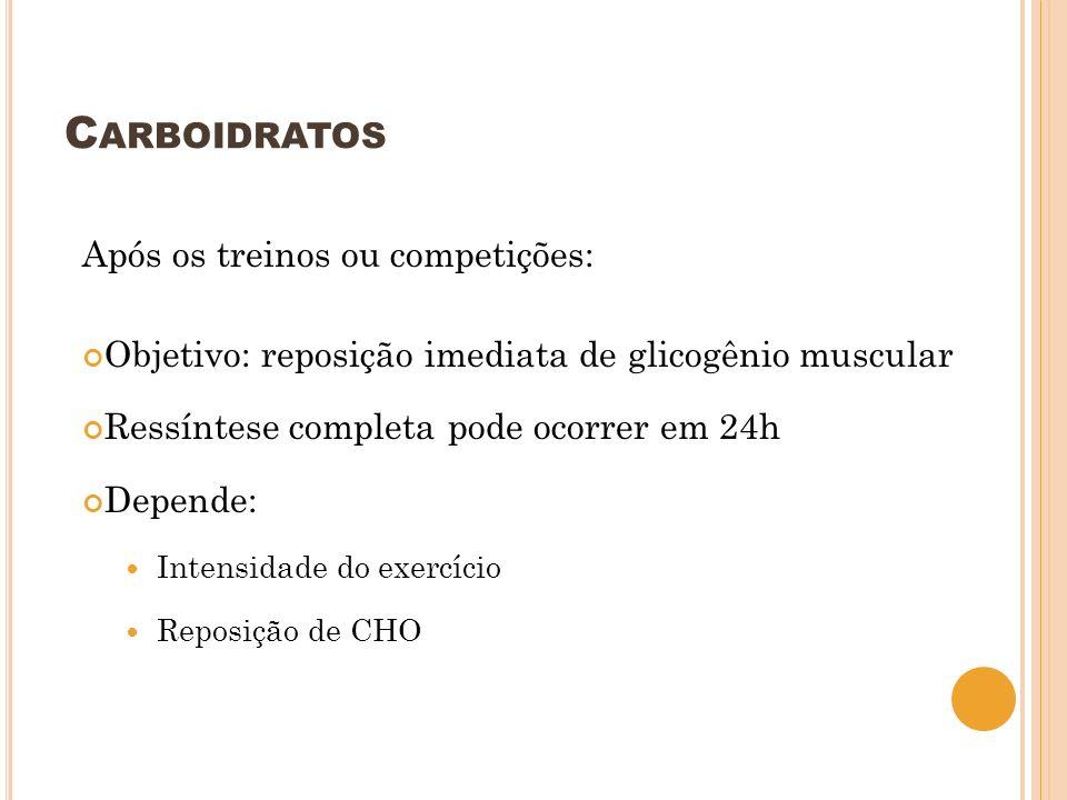 Carboidratos Após os treinos ou competições: