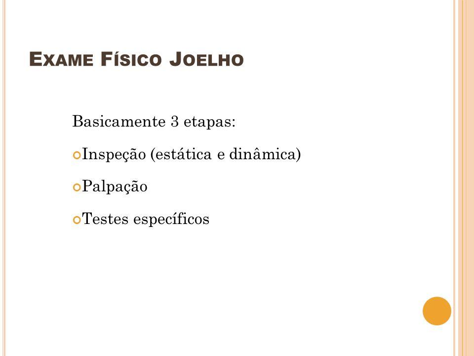 Exame Físico Joelho Basicamente 3 etapas: