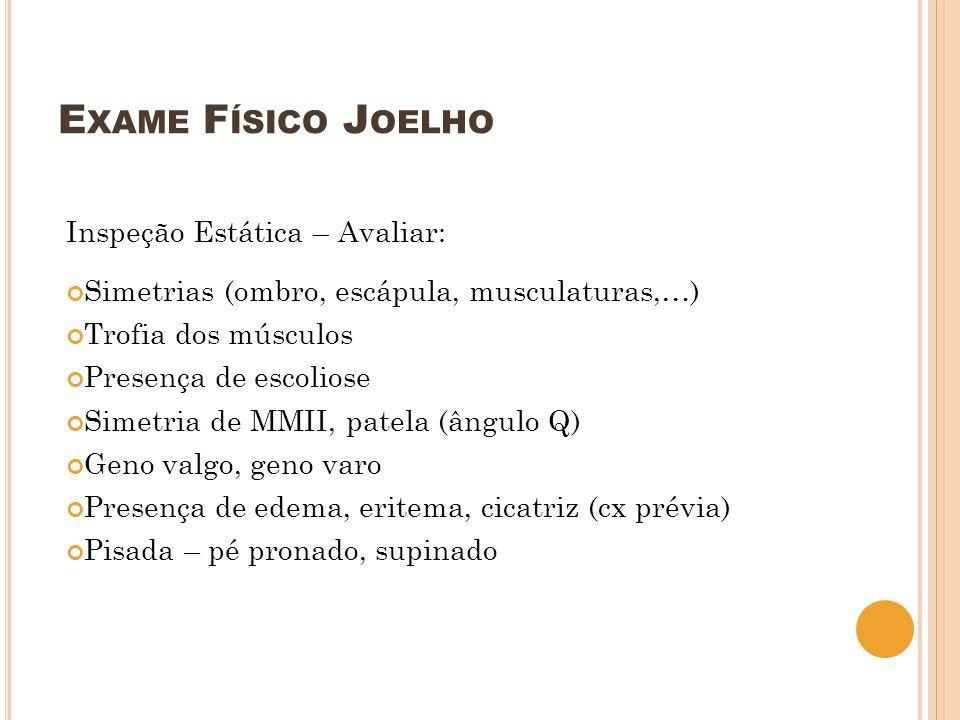 Exame Físico Joelho Inspeção Estática – Avaliar: