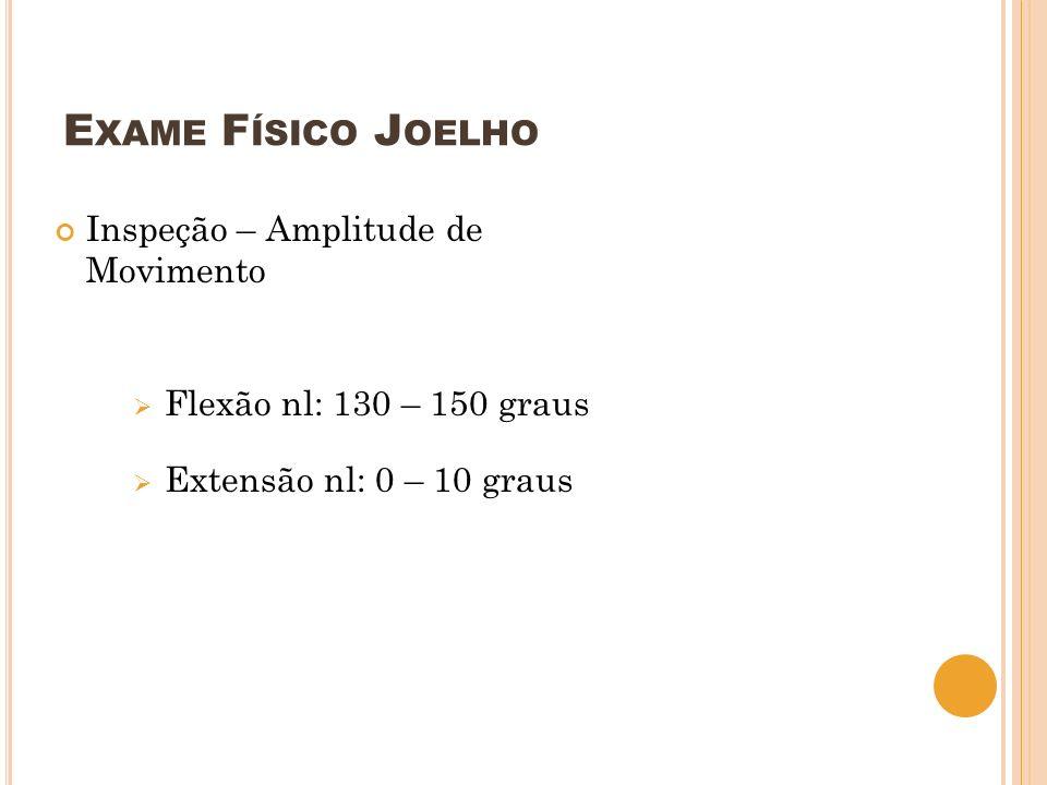 Exame Físico Joelho Inspeção – Amplitude de Movimento