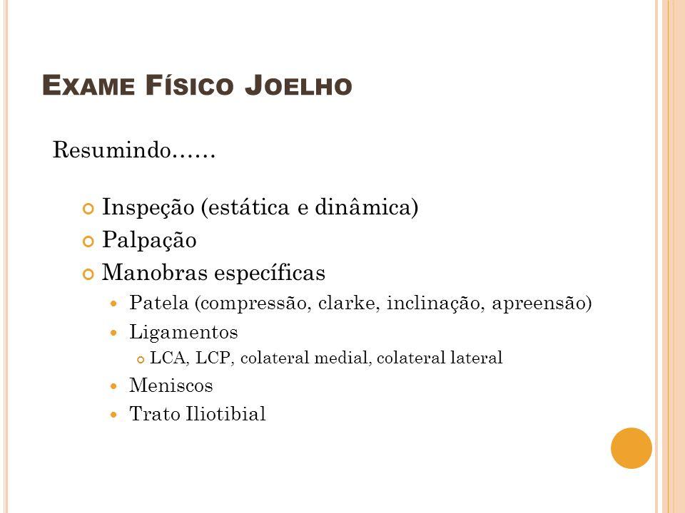 Exame Físico Joelho Resumindo…… Inspeção (estática e dinâmica)