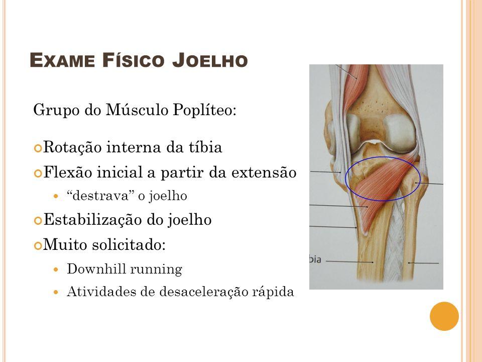 Exame Físico Joelho Grupo do Músculo Poplíteo: