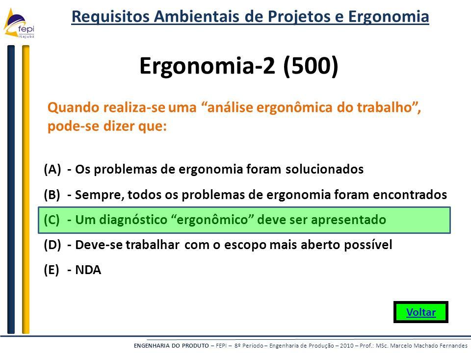 Requisitos Ambientais de Projetos e Ergonomia