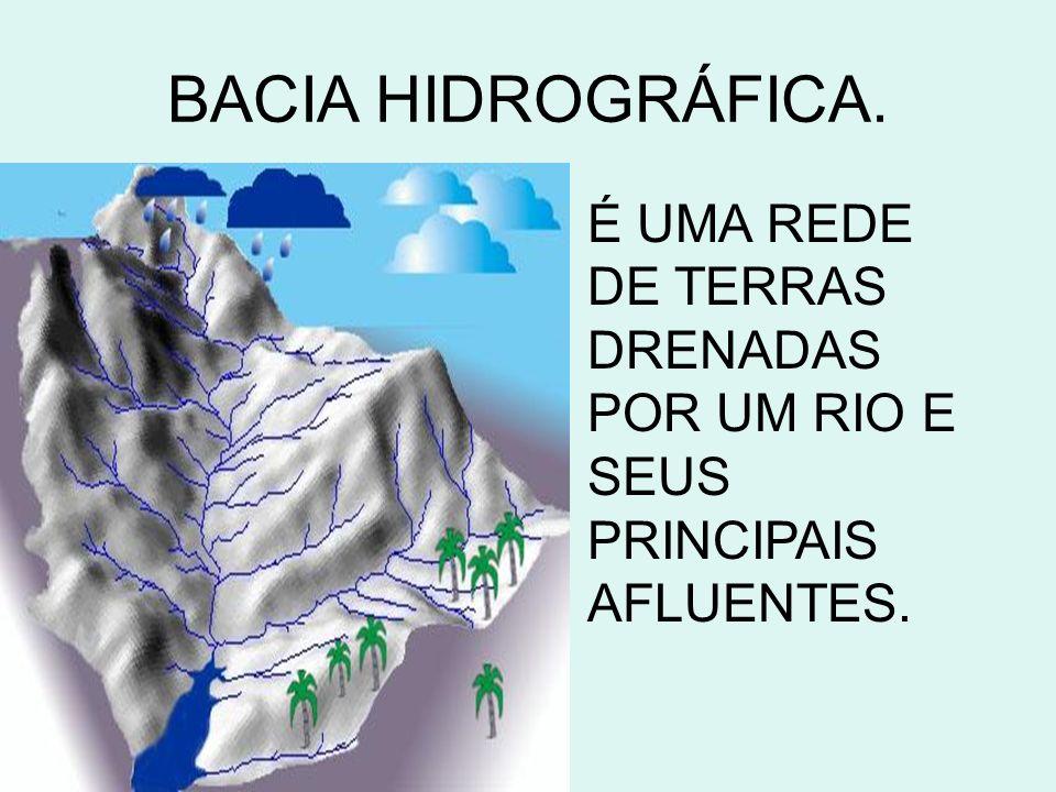 BACIA HIDROGRÁFICA. É UMA REDE DE TERRAS DRENADAS POR UM RIO E SEUS PRINCIPAIS AFLUENTES.