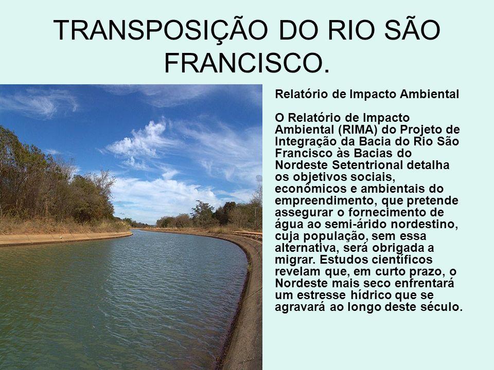 TRANSPOSIÇÃO DO RIO SÃO FRANCISCO.