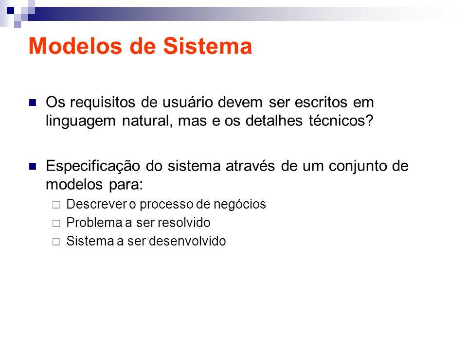 Modelos de Sistema Os requisitos de usuário devem ser escritos em linguagem natural, mas e os detalhes técnicos