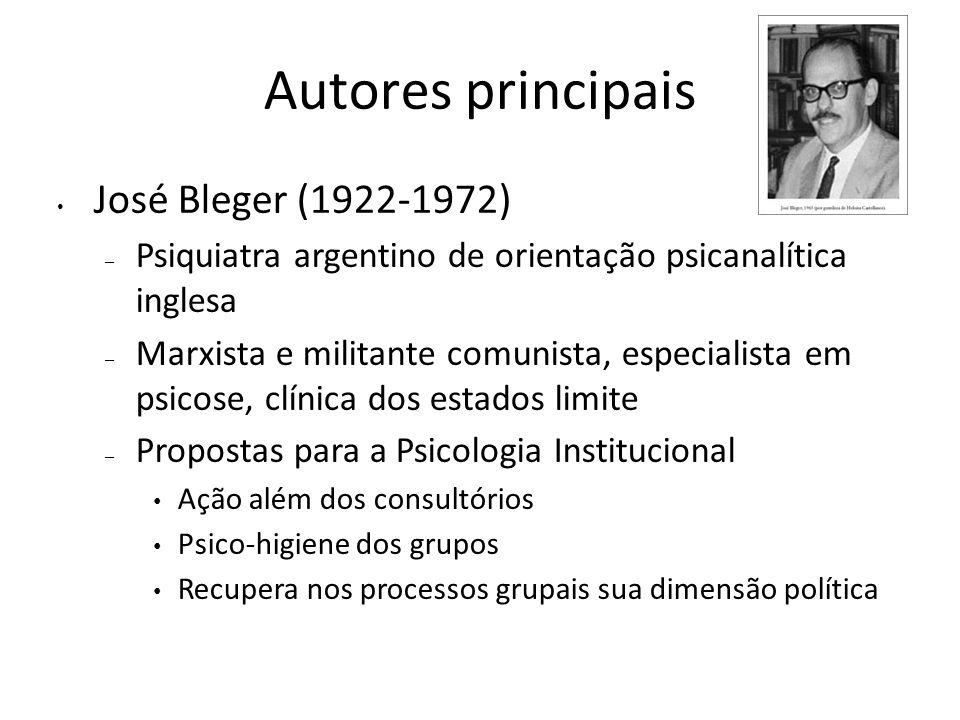 Autores principais José Bleger (1922-1972)