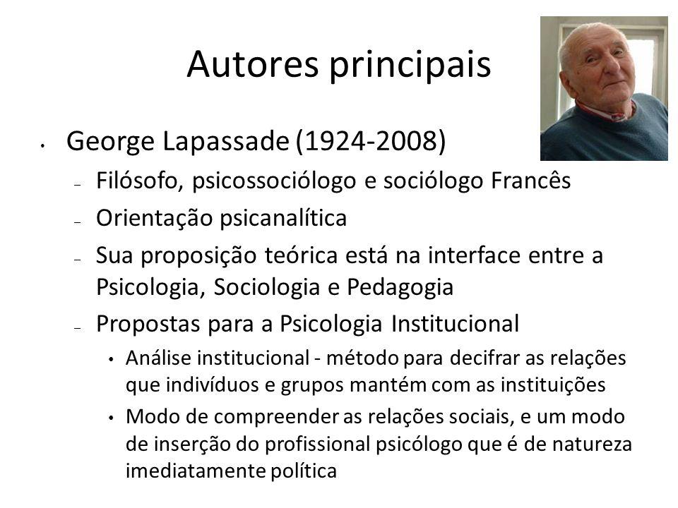 Autores principais George Lapassade (1924-2008)