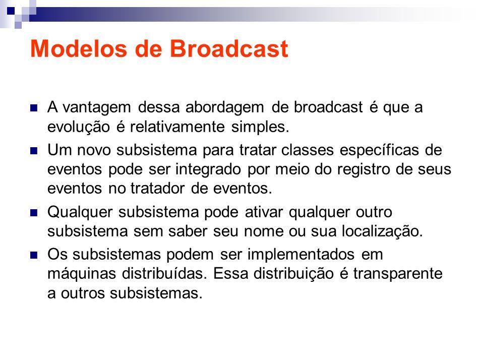 Modelos de Broadcast A vantagem dessa abordagem de broadcast é que a evolução é relativamente simples.
