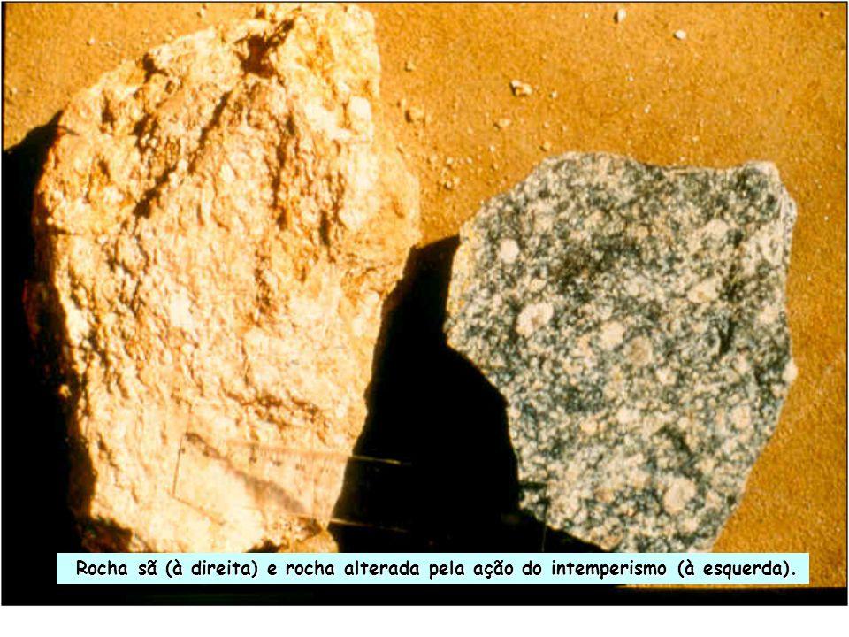 Rocha sã (à direita) e rocha alterada pela ação do intemperismo (à esquerda).