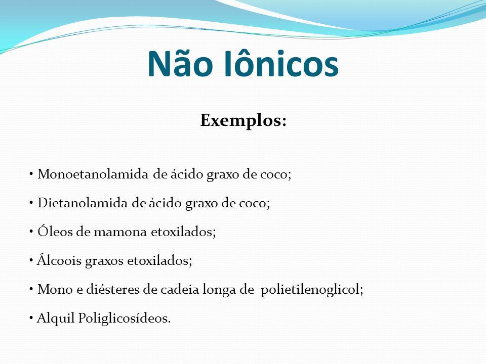 Não Iônicos Exemplos: • Monoetanolamida de ácido graxo de coco;
