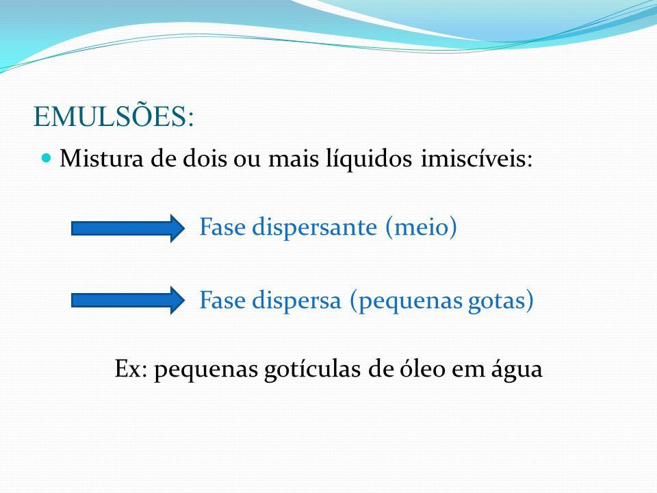 EMULSÕES: Mistura de dois ou mais líquidos imiscíveis: