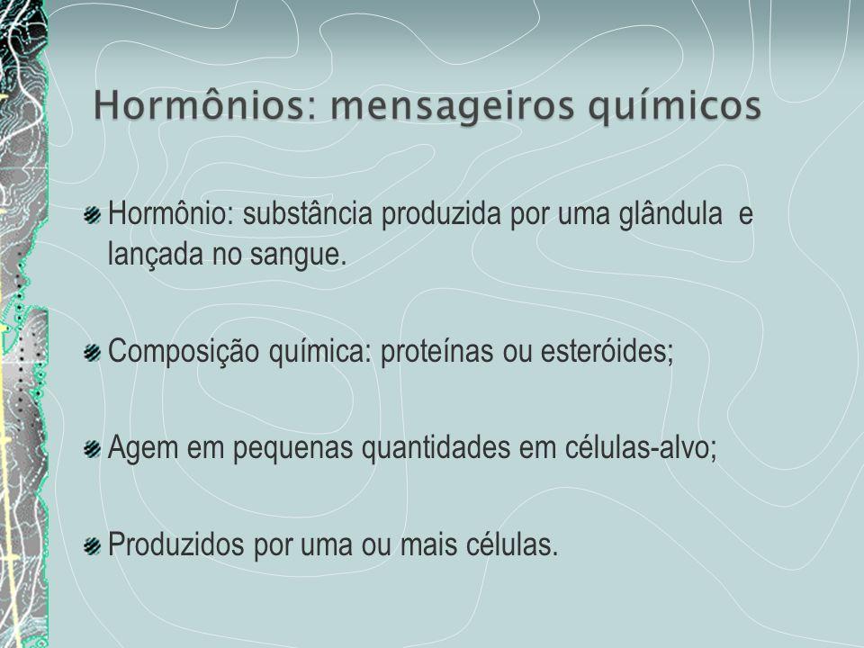 Hormônio: substância produzida por uma glândula e lançada no sangue.