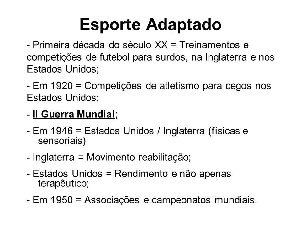 Esporte Adaptado - Primeira década do século XX = Treinamentos e