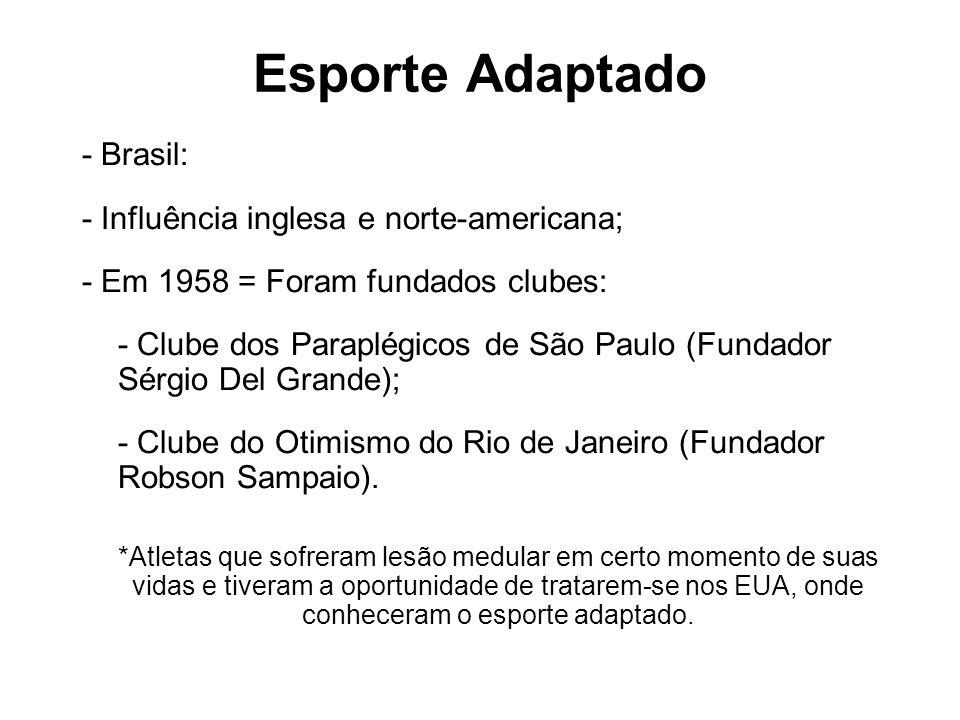 Esporte Adaptado - Brasil: - Influência inglesa e norte-americana;