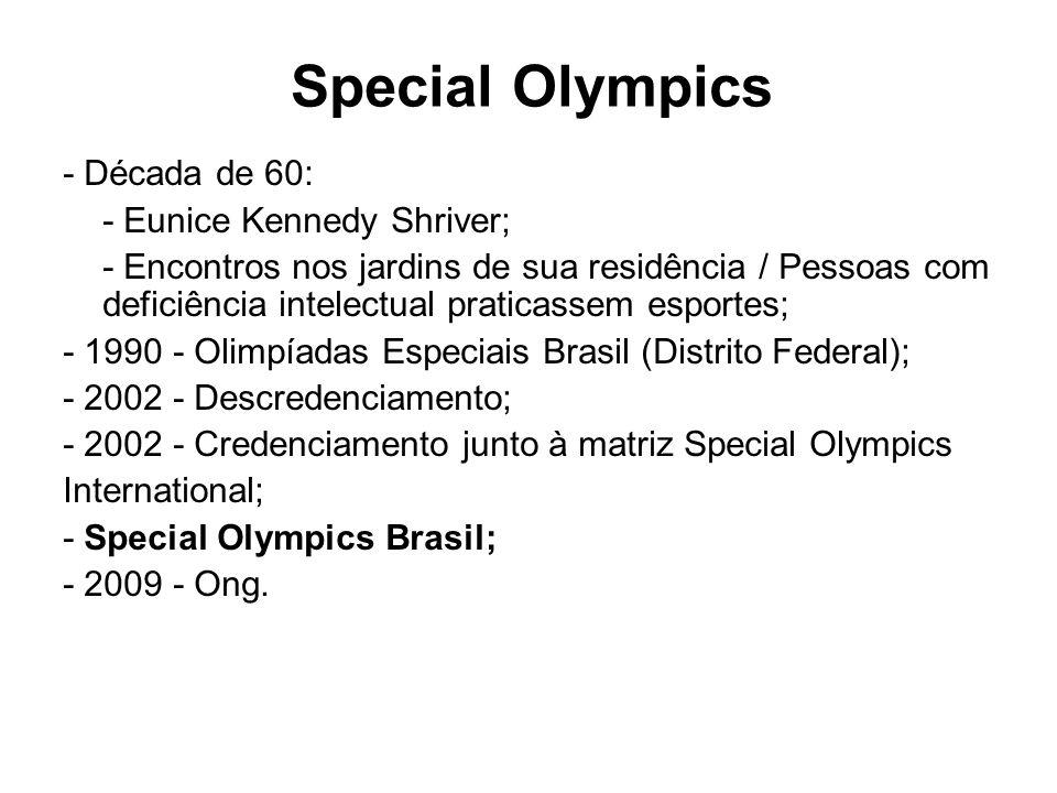Special Olympics - Década de 60: - Eunice Kennedy Shriver;
