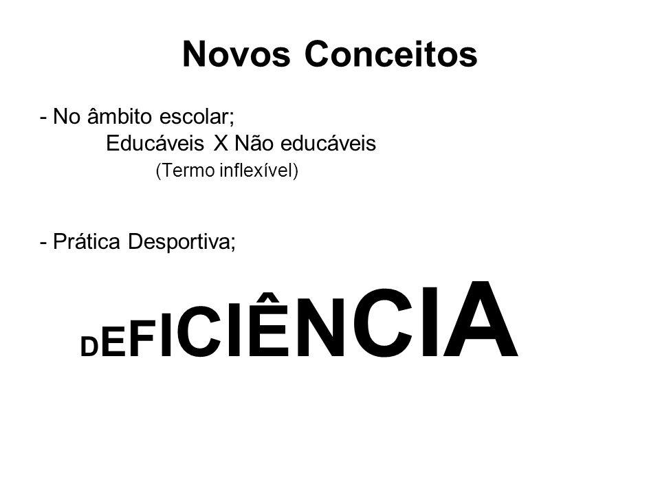 Novos Conceitos DEFICIÊNCIA - No âmbito escolar;