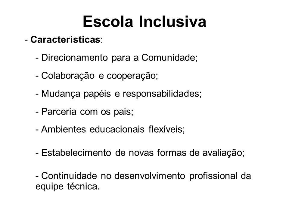 Escola Inclusiva - Características: