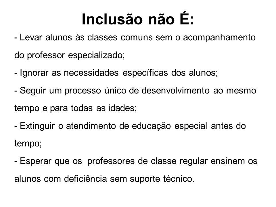 Inclusão não É: - Levar alunos às classes comuns sem o acompanhamento