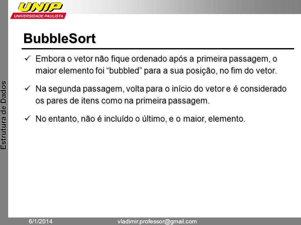 BubbleSort Embora o vetor não fique ordenado após a primeira passagem, o maior elemento foi bubbled para a sua posição, no fim do vetor.