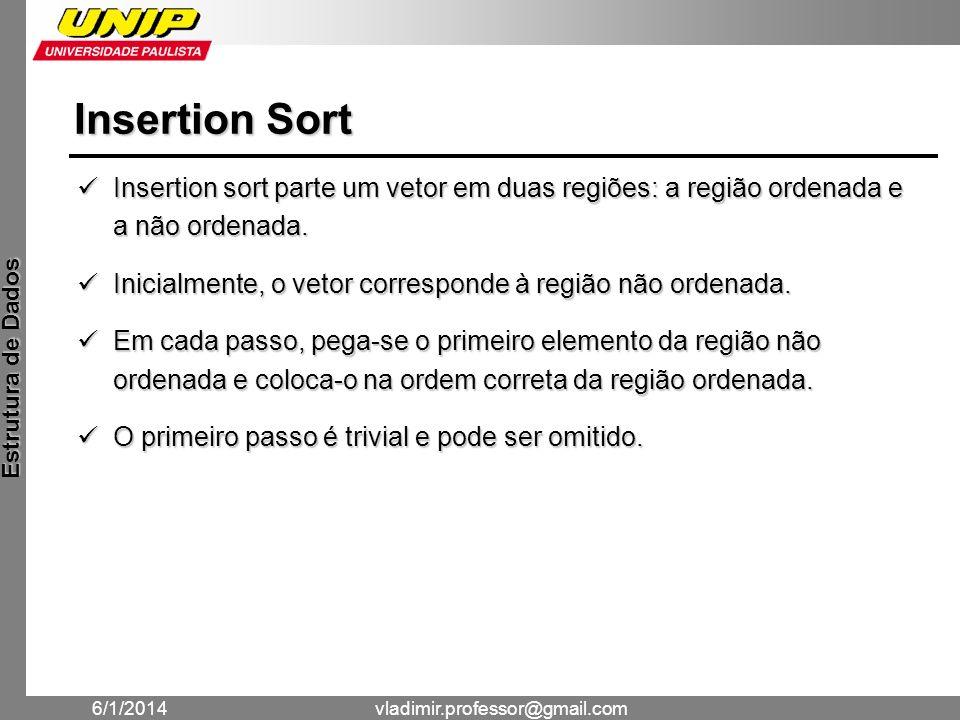 Insertion Sort Insertion sort parte um vetor em duas regiões: a região ordenada e a não ordenada.