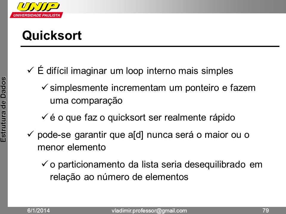 Quicksort É difícil imaginar um loop interno mais simples