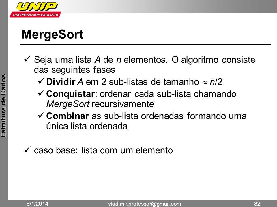 MergeSort Seja uma lista A de n elementos. O algoritmo consiste das seguintes fases. Dividir A em 2 sub-listas de tamanho  n/2.
