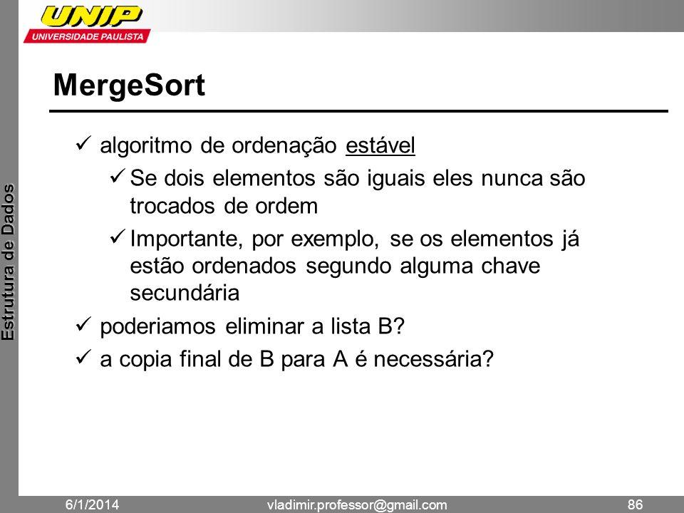MergeSort algoritmo de ordenação estável