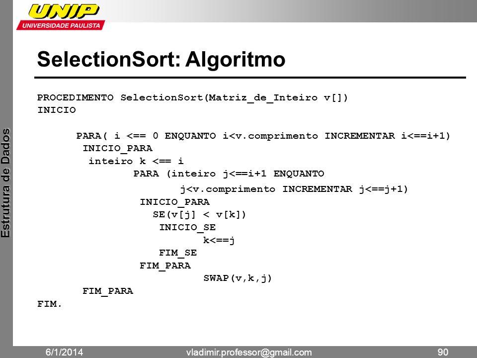 SelectionSort: Algoritmo
