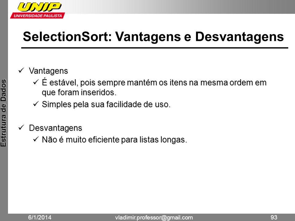 SelectionSort: Vantagens e Desvantagens