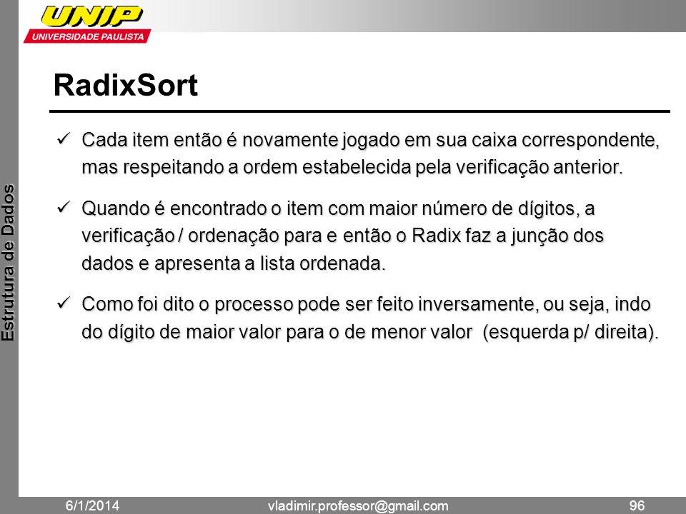 RadixSort Cada item então é novamente jogado em sua caixa correspondente, mas respeitando a ordem estabelecida pela verificação anterior.