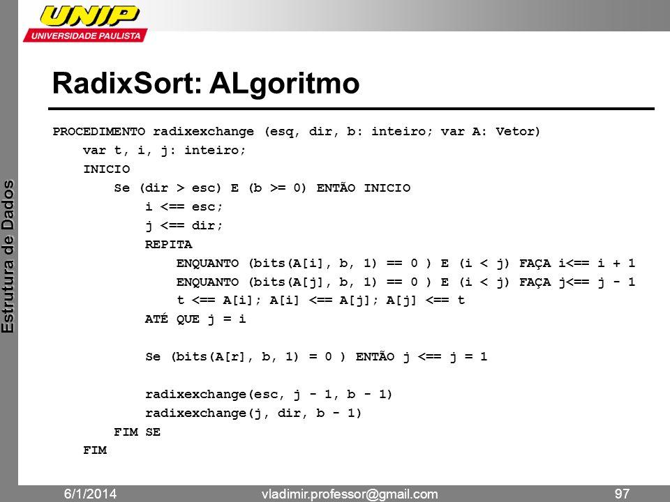 RadixSort: ALgoritmo PROCEDIMENTO radixexchange (esq, dir, b: inteiro; var A: Vetor) var t, i, j: inteiro;