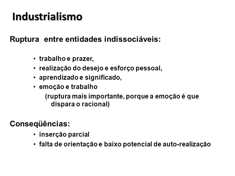 Industrialismo Ruptura entre entidades indissociáveis: Conseqüências: