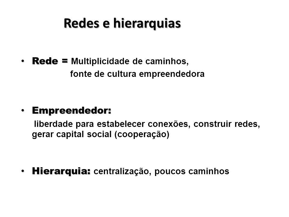 Redes e hierarquias Rede = Multiplicidade de caminhos, Empreendedor: