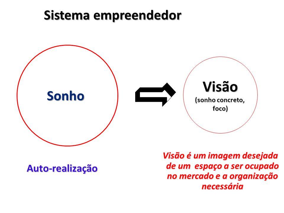 Visão Sistema empreendedor Sonho Auto-realização