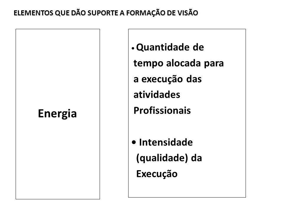 Energia tempo alocada para a execução das atividades Profissionais