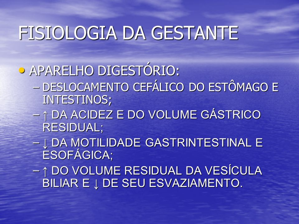 FISIOLOGIA DA GESTANTE