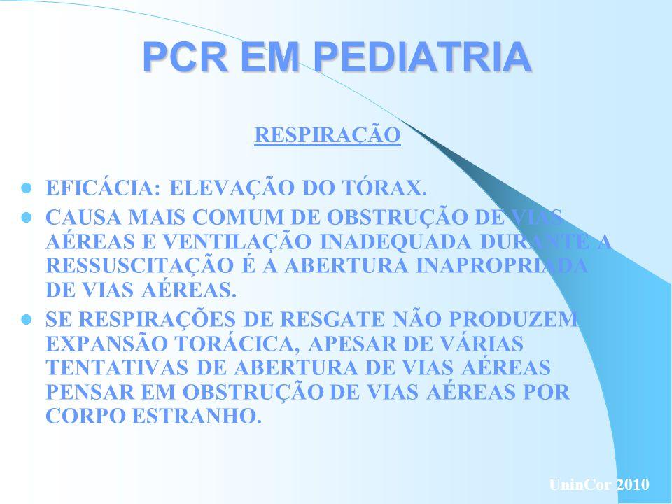PCR EM PEDIATRIA RESPIRAÇÃO EFICÁCIA: ELEVAÇÃO DO TÓRAX.
