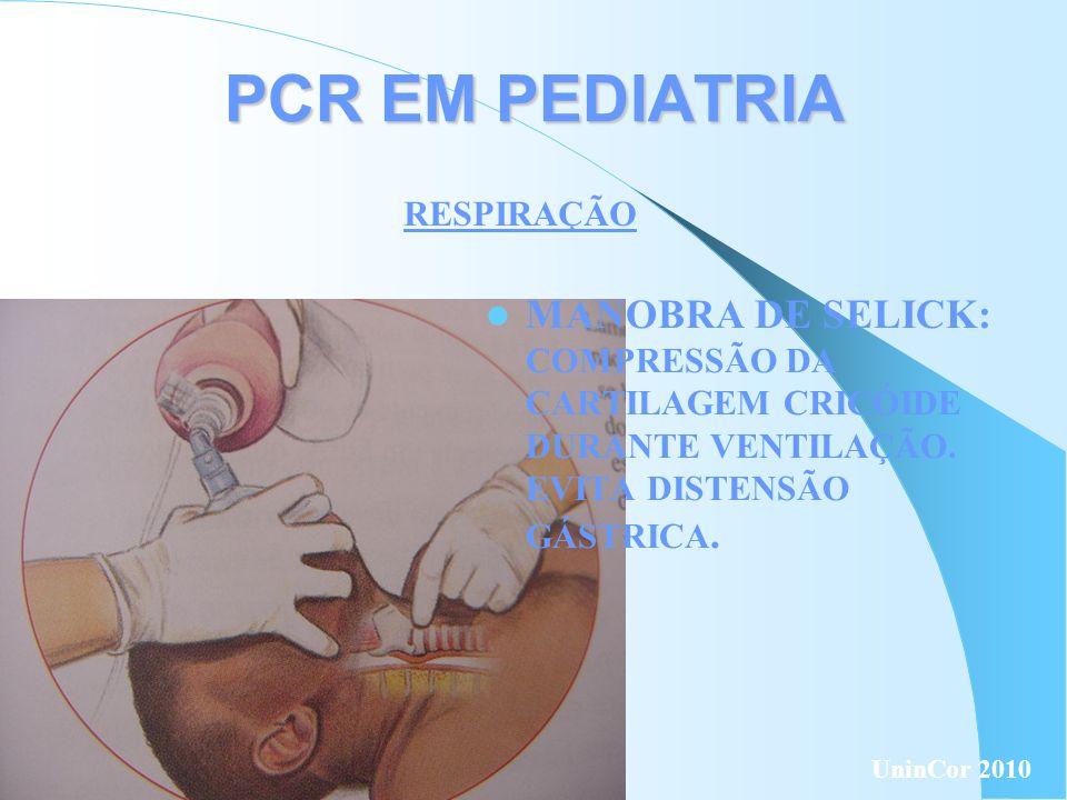 PCR EM PEDIATRIA RESPIRAÇÃO. MANOBRA DE SELICK: COMPRESSÃO DA CARTILAGEM CRICÓIDE DURANTE VENTILAÇÃO. EVITA DISTENSÃO GÁSTRICA.
