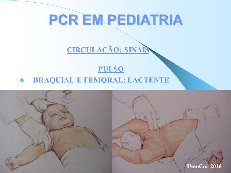 PCR EM PEDIATRIA CIRCULAÇÃO: SINAIS PULSO BRAQUIAL E FEMORAL: LACTENTE