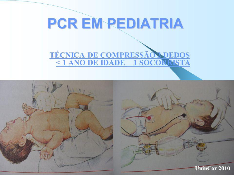 TÉCNICA DE COMPRESSÃO 2 DEDOS < 1 ANO DE IDADE 1 SOCORRISTA