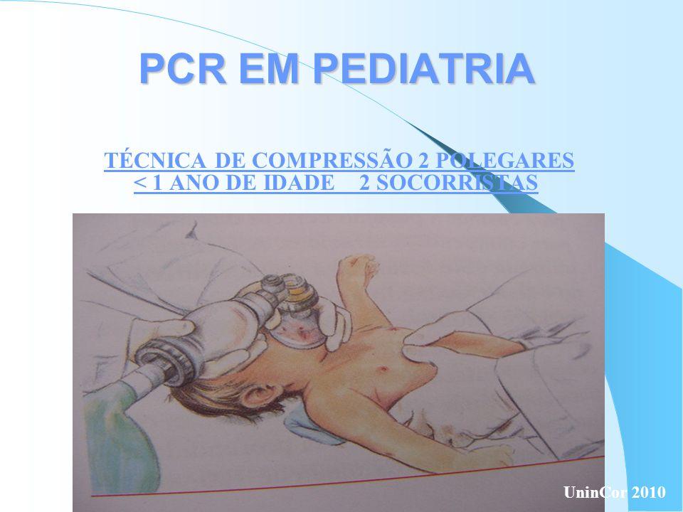 TÉCNICA DE COMPRESSÃO 2 POLEGARES < 1 ANO DE IDADE 2 SOCORRISTAS