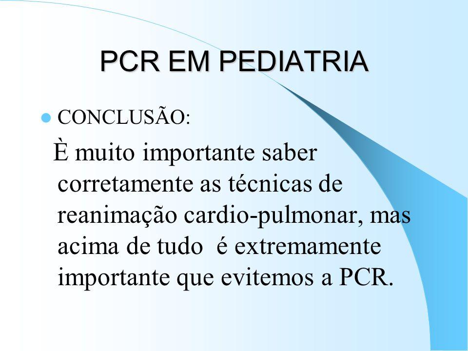 PCR EM PEDIATRIA CONCLUSÃO: