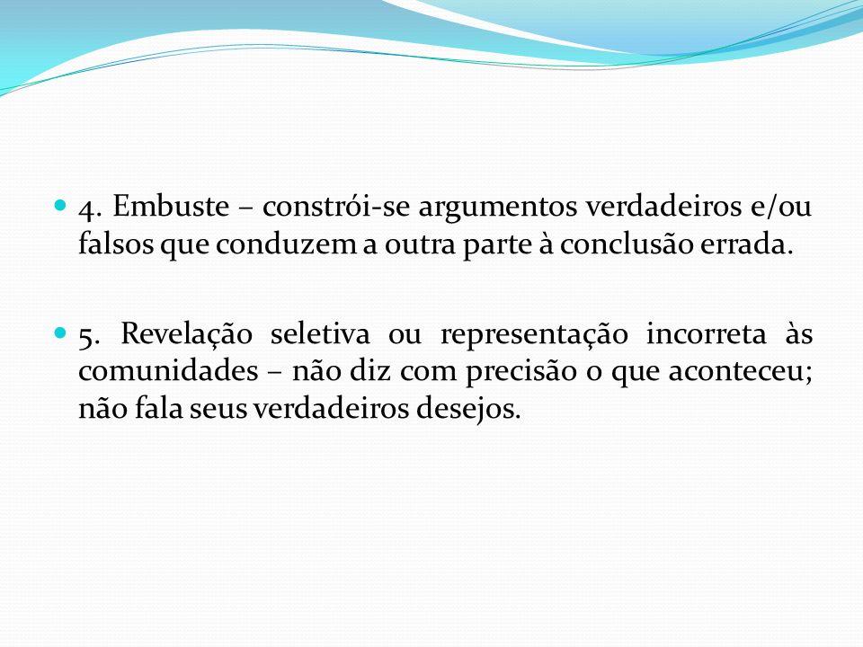 4. Embuste – constrói-se argumentos verdadeiros e/ou falsos que conduzem a outra parte à conclusão errada.