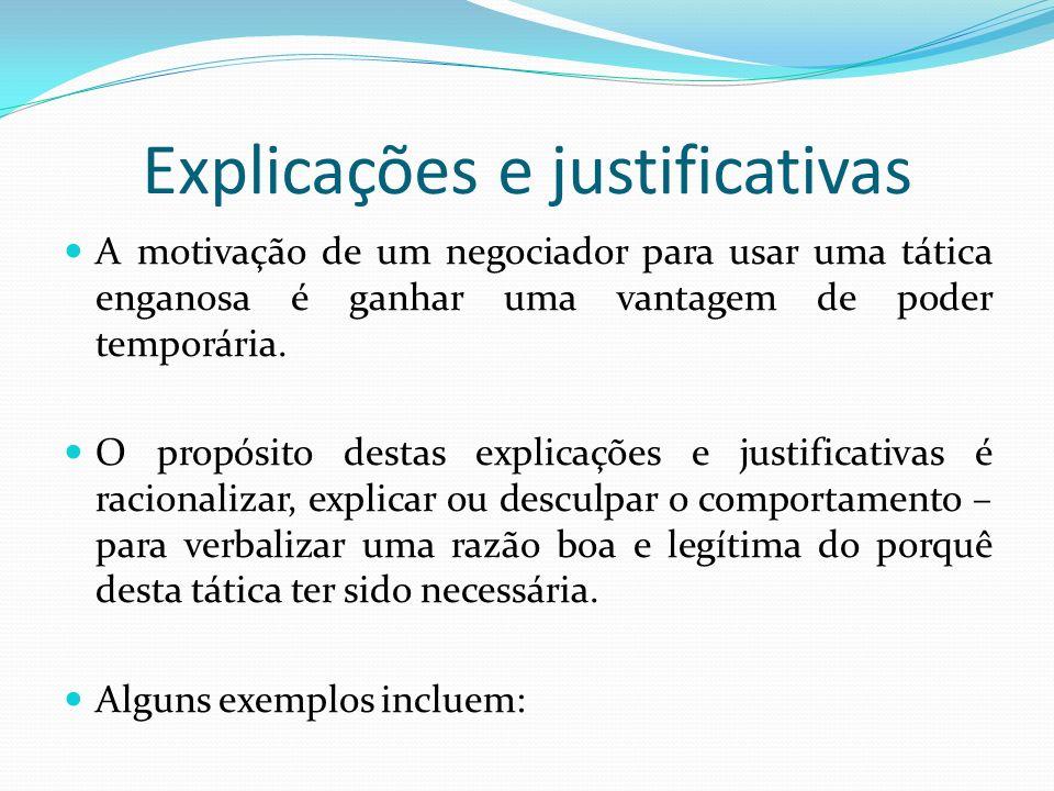 Explicações e justificativas