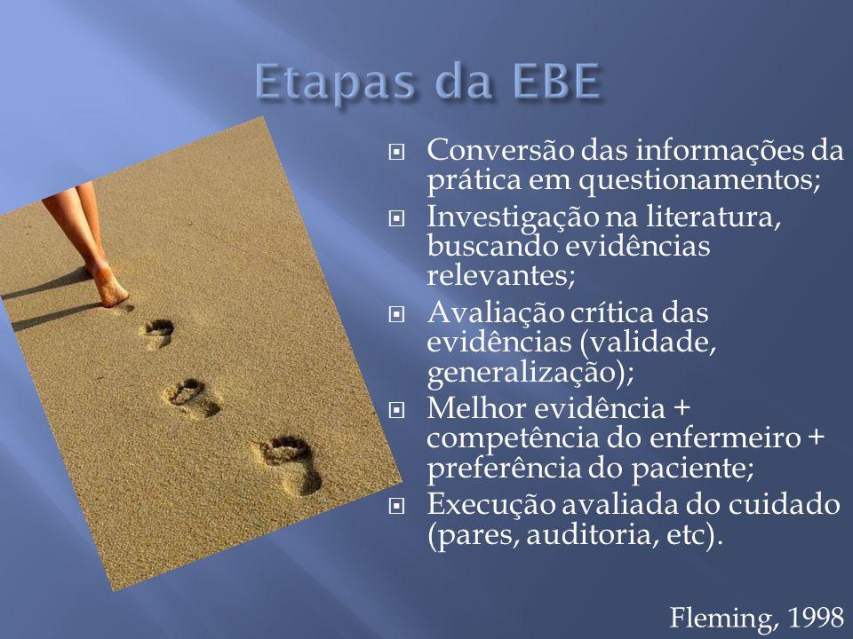 Etapas da EBE Conversão das informações da prática em questionamentos;