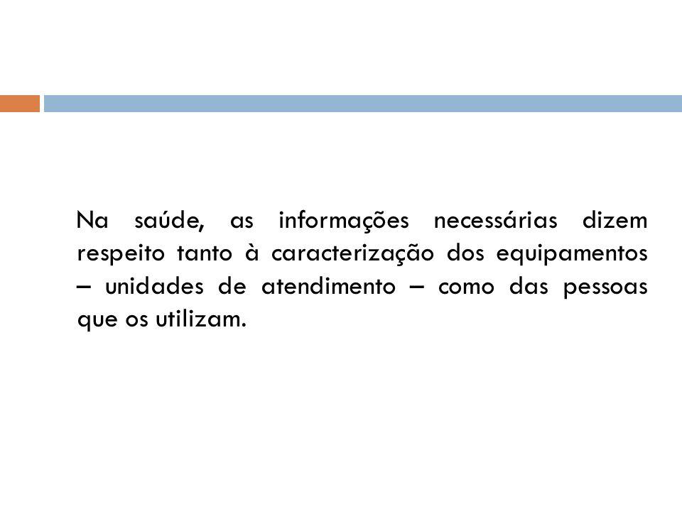 Na saúde, as informações necessárias dizem respeito tanto à caracterização dos equipamentos – unidades de atendimento – como das pessoas que os utilizam.