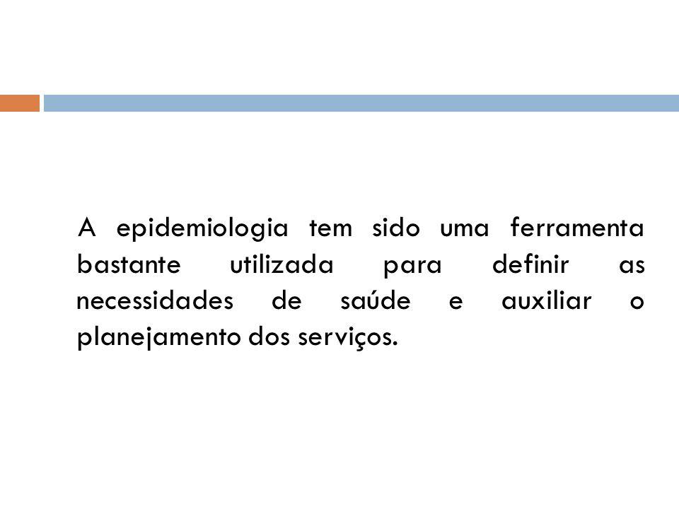 A epidemiologia tem sido uma ferramenta bastante utilizada para definir as necessidades de saúde e auxiliar o planejamento dos serviços.