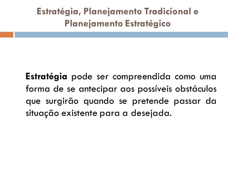Estratégia, Planejamento Tradicional e Planejamento Estratégico